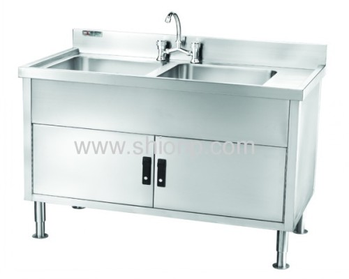Stainless steel double-basin washing desk(left-size style)