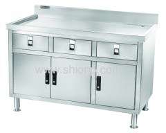 Stainless steel 3 doors Commercial working table
