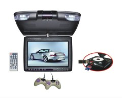 11 inch roof mounting car DVD player with 180-degree left-swivel screen with game functions