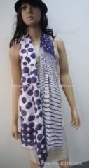 rayon dot and horizontal stripe scarf