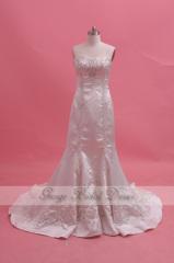 Атласная Вышитые Свадебные платья