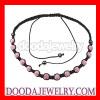Fashion pink Czech Crystal Shamballa necklace
