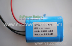 Lithium Li-Ion 2S 18500 7.4V 1400mAh Battery Pack L18500-1400 with PCB