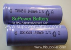 3.7V 1.4Ah 18500 Li-ion Rechargeable Battery Cell