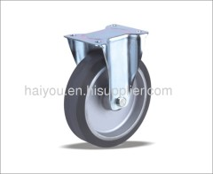 fixed caster with elastic rubber wheels(aluminum center)