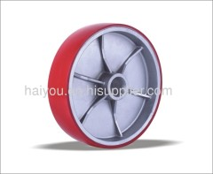 Polyurethane wheel with aluminum centre