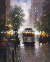 Street Landscape Oil Painting On Canvas