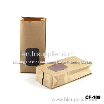 Moisture Proof Kraft Paper Coffee Packaging Bags With Clear