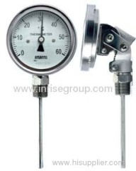 Adjustable angle bimetal thermometer