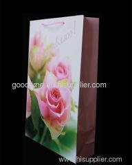 pink flower gift bag