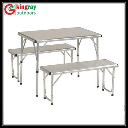 Table pliante avec 2 bancs defa picnic table roll up table for Table pliante avec rangement chaise