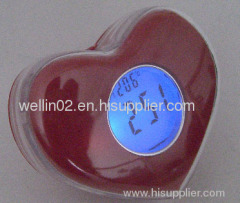 heart shape lcd clock