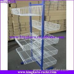 KingKara Iron Wire Basket Hanging Display Rack