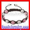 Fashion Shamballa Pink And White Crystal Bead Bracelet
