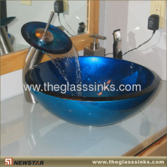 Hand-painted glass vessel basin