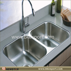 Double bowl stainless steel sinks