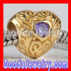 european Style Gold Plated Sterling Silver Love Beads With Purple Stone