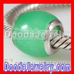 Green Jade Stone Beads with 925 Silver Core for european Bead Bracelets