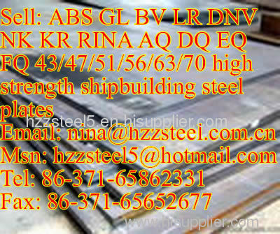 DNV FQ47/DNV FQ51/DNV FQ56/DNV FQ63/ABS FQ70 marine steel plate