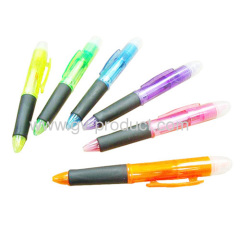 plastic ballpoint pen with hilighter