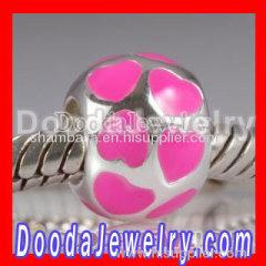 european style silver pink love enamel beads