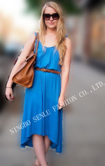 Sleeveless Strap Dress Blue T-shirt
