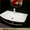 White glass bath vanities