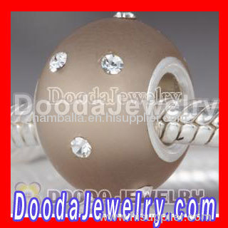 Kerastyle Silver european Frosted Glass Bead with Swarovski crystal Accents suit european Largehole Jewelry Bracelet