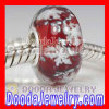 Red Snowflake Glass Beads with Silver Shatter fit Padnora Style Largehole Jewelry Bracelet