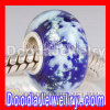 european Style Sterling Silver Core Snowflake Glass Beads