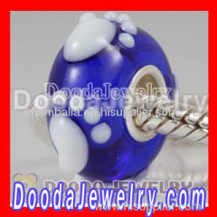 Blue Lampwork Glass Fotprint Beads 925 Sterling Silver Core Suit european Style Jewelry