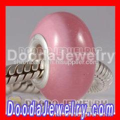 Pink Cat Eye Lampwork Glass Beads with Alloy Double Core fit european Largehole Jewelry Bracelet
