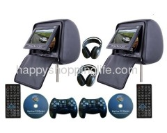 Car Headrest DVD Player with Zipper and Wireless Headphone