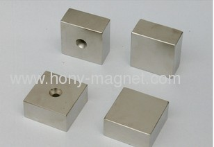 block with one hole ndfeb magnet