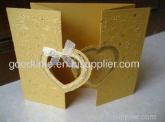 gloden embossing wedding invitation card