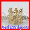925 Sterling Silver Gold Plated Charm Jewelry Beads With Clear Stone
