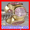 Gold Plated Jewelry 925 Silver Beads with Pink Stone