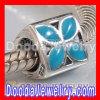 925 Sterling Silver Jewelry 4 Petal Flower Bead with Blue Enamel