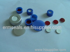 Blue PTFE and white Silicone septa magnetic precision screw-thread metal cap