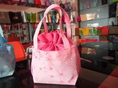 Pink fabric gift bag