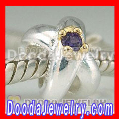925 Solid Siver Beads In Heart Cross Design With Gold Plated Purple Stone Charms