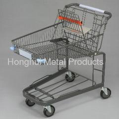 Supermarket shopping cart with 3 shopping basket