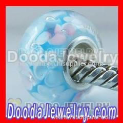 Cheap Chamilia style glass bead | cyan flowers charm beads