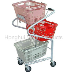 Metal Shopping cart with 3 hand basket holder