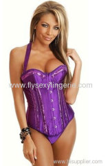 Purple Tie Strap Burlesque Sequin Corset