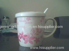 porcelain decal mug with spoon and lid