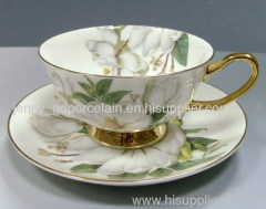 gold bone china cup&saucer