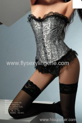 Allure brocade corset with lace up and bottom