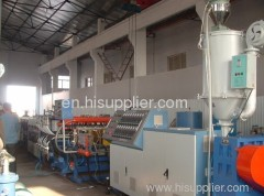 Plastic hollowness grid board production line