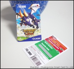 PVC Card with Scratch-off for Internet Game Cash
